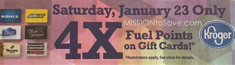 Kroger Gift Cards 4x Fuel Points - kroger 4x fuel points on gift cards 1 23 only mission to save