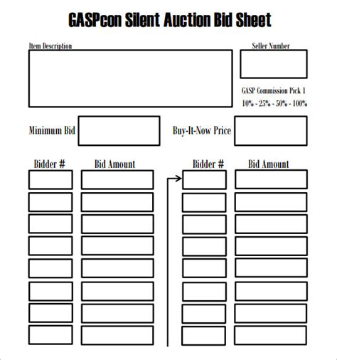 bid calendar template search results for silent auction bid sheets word
