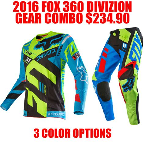 fox motocross gear combos 2016 fox 360 divizion gear combo pro style mx