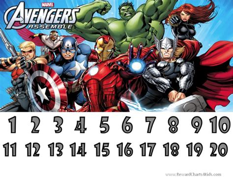 printable avengers reward charts marvel avengers charts