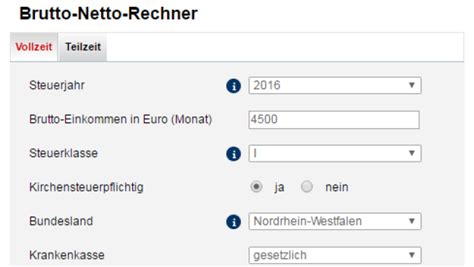 Kleinunternehmer Rechnung Netto Oder Brutto Brutto Netto Rechner 2017 Check F 252 R Den Lohn Chip