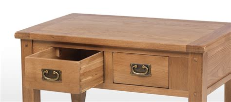 Rustic Oak Small 2 Drawer Coffee Table Quercus Living Rustic Oak Coffee Table With Drawers