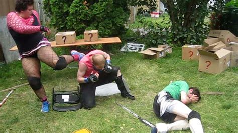 backyard wrestling youtube mystery box match miniak vs ric roberts vs xacutor chw