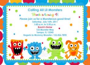 adorable monster birthday invitations