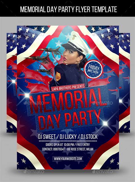 Memorial Day Party Flyer Template By Lapabrothers Graphicriver Memorial Flyer Template