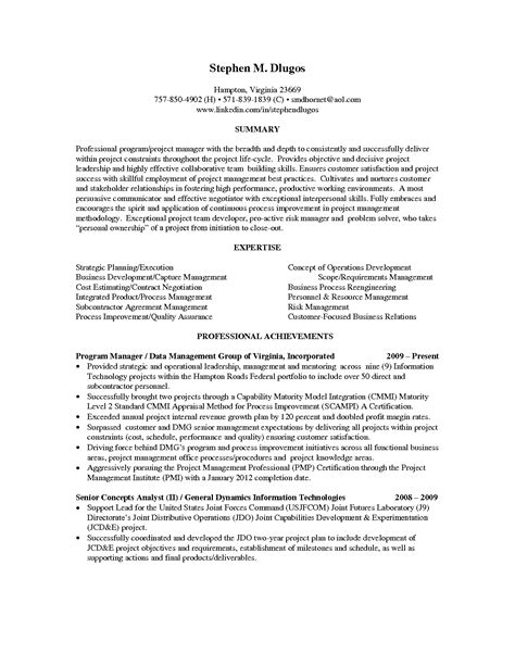 program manager sle resume sle project manager resume objective 28 images resume