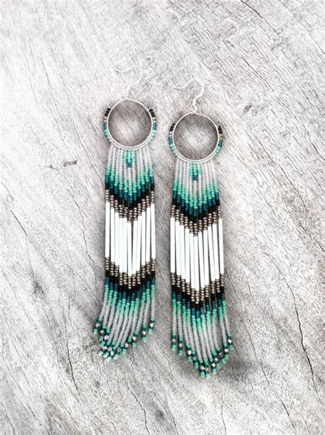 make american indian jewelry fringe beaded earrings mint teal white shoulder