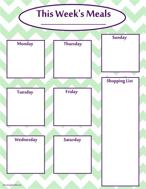 weekly meal planner printable free weekly meal plan printable calendar template 2016