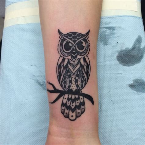 3 dot tattoo meaning on wrist this is my owl done in all black with shading and