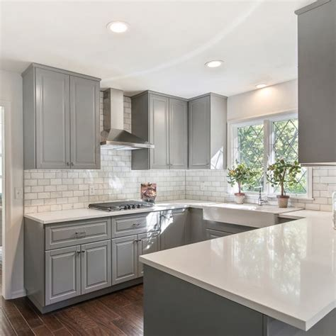 grey cabinets with white countertops gray shaker cabinets white quartz counter tops grecian