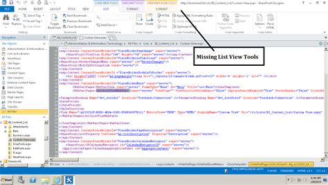list view tools tab missing in sharepoint designer 2013