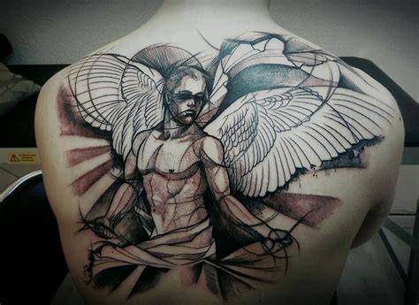 tattoo angel abstract 48 wonderful angel tattoos on upper back