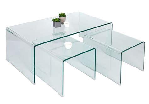 lot de tables basses gigognes en verre verino design