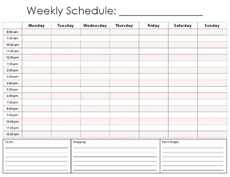 printable weekly appointment calendar pertaining