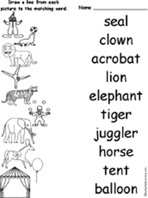 printable circus activity sheets matching words and pictures worksheets