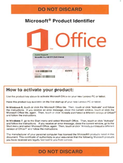 Office License Microsoft Product Identity Mpi Card Unofficial Windows