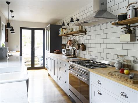 shaker style galley kitchen merges vintage