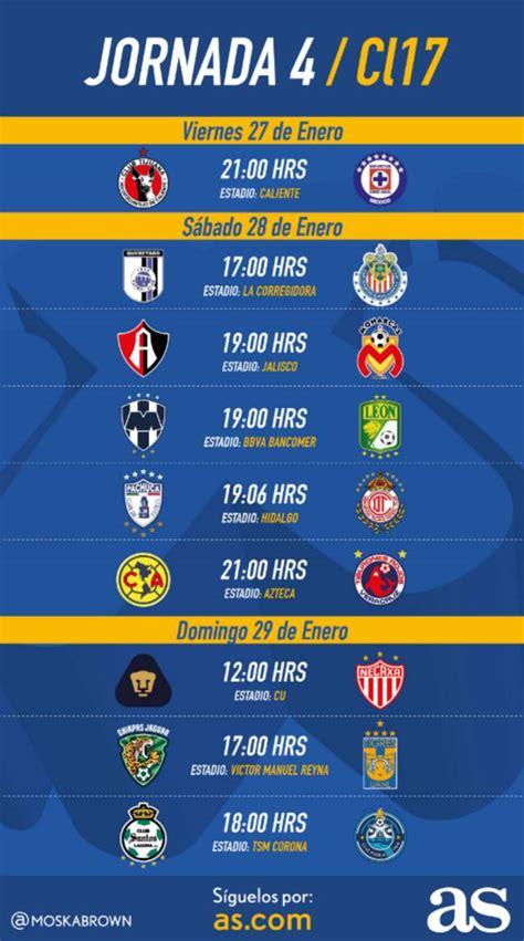 Calendario La Liga 2017 Fechas Y Horarios De La Jornada 4 Clausura 2017 De La