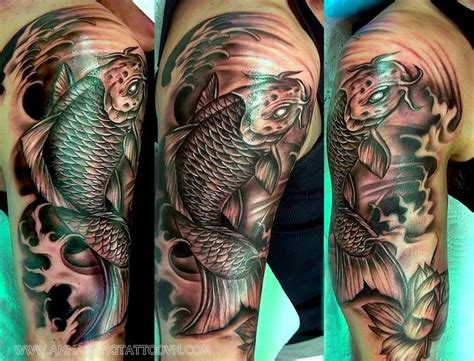 koi fish half sleeve tattoo annahangtattoovn com www