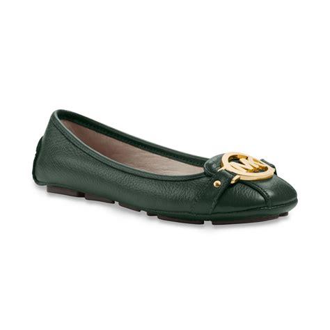 michael kors shoes fulton moc flats michael kors saffiano fulton moc flats in green malachite