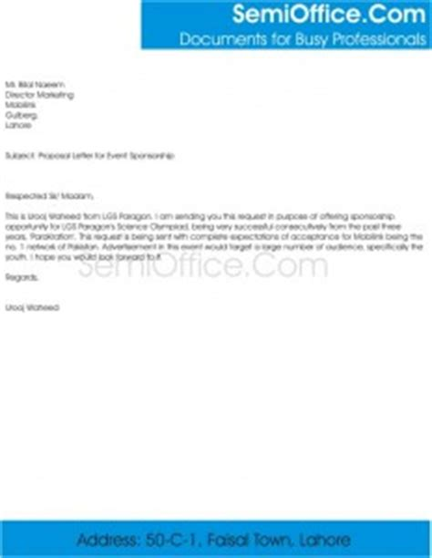 Sponsorship Query Letter Sle Letter For Event Sponsorship