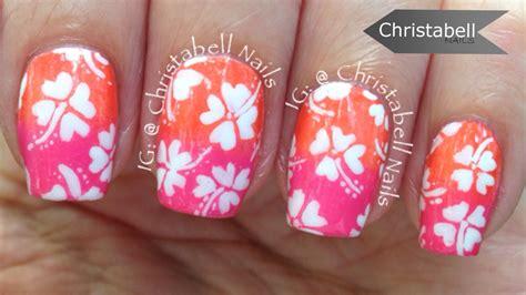 hibiscus nail art tutorial hawaiian hibiscus nail art nail ftempo