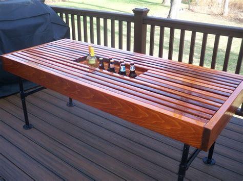 diy patio table legs cedar outdoor table with built in wine cooler with pipe legs diy cedar outdoor table
