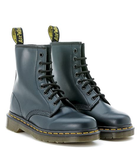 blue leather boots dr martens dr martens blue leather ankle boots in blue