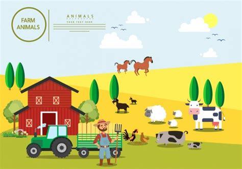 pertanian latar belakang berwarna kartun desain ternak