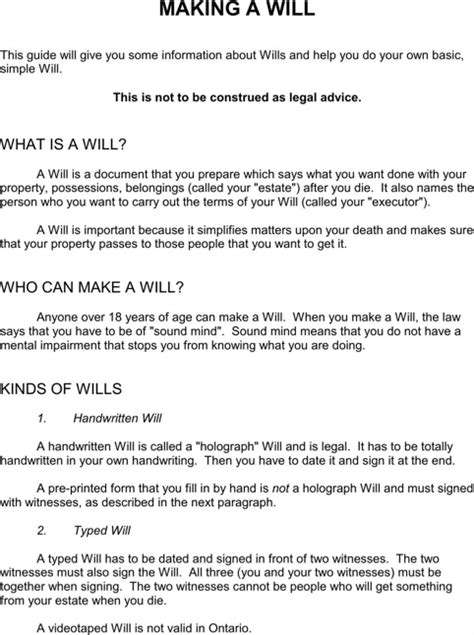 ontario will template ontario last will and testament form for free