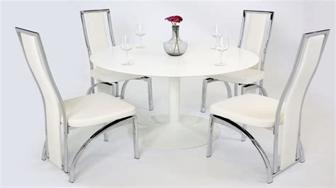 White Gloss Dining Table And Chairs White Gloss Dining Table And 4 Chairs Homegenies