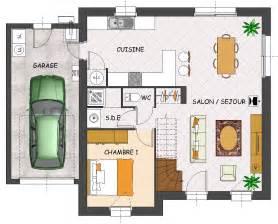 Bien Plan Maison Rt 2012 #7: Plan-maison-contemporaine-4-chambres-garage-orchidee-rdc.jpg