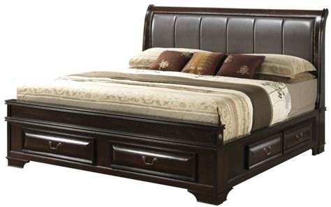 Brown Wooden Bed Frame With Bedroom Brown Wooden Bed Frame With Drawers And Steel Handle Also Grey Leather Headboard