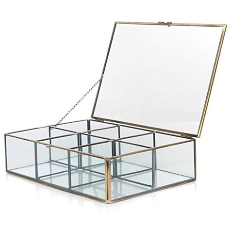 Shadow Box Bar Top by Decorative Clear Glass Brass Metal Frame 6 Compartment Jewelry Shadow Box Counter Top