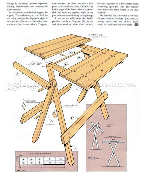 folding bench plans folding table plans woodarchivist