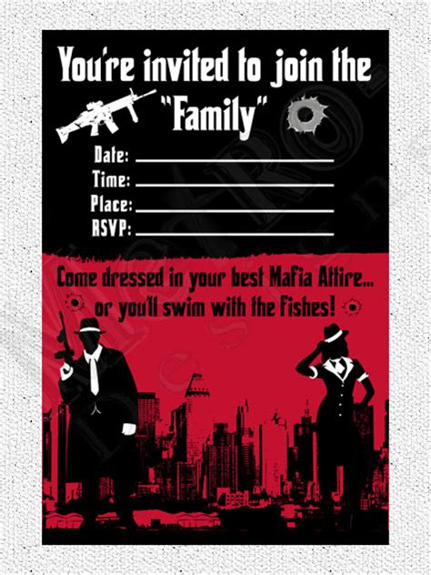 mafia party hair style mobster theme invitation digital file wedding plans