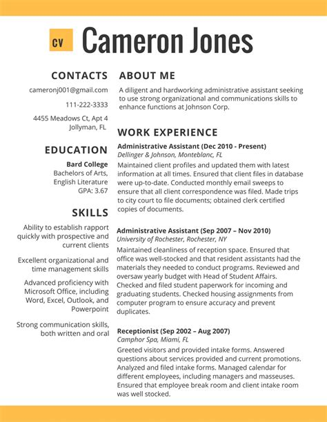 Resume Exles 2017 College Resume Template 2017 Resume Builder