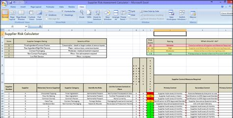 Brc Food Safety Material Risk Assessment Template