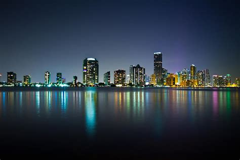 miami city skyline at night miami night skyline photograph by andres leon