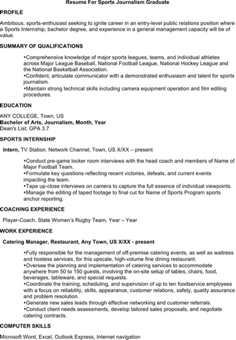 Sle Resume Sports Journalism Journalist Resume Templates For Free Formtemplate