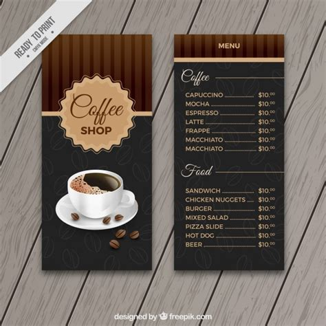 cafe menu template retro cafe menu template vector free