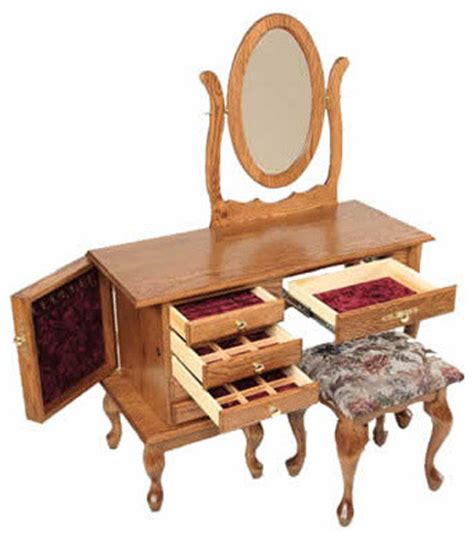 Jewelry And Makeup Vanity Table Jewelry Dressing Table With Mirror Traditional Bedroom Makeup Vanities
