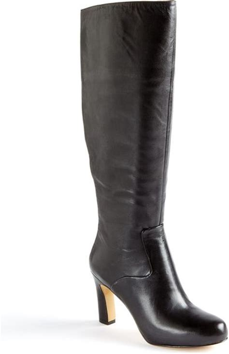 nine west number one leather boots in black black leather