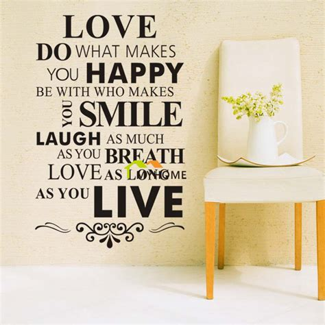 inspirational quotes decor for the home love do what makes you happy wall lettering stickers