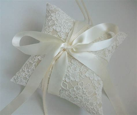 Ring Pillow by Alencon Lace Ring Bearer Pillow In Ivory Ivory Ring