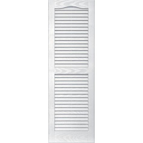 Louvered Doors Exterior Shop Vantage 2 Pack White Louvered Vinyl Exterior Shutters Common 14 In X 43 In Actual 13