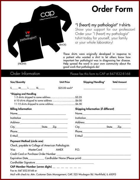 t shirt order form template word template design