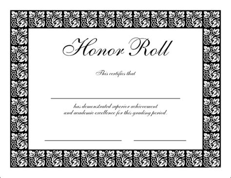 honor roll certificate templates certificates memories free custom pdfs save and print