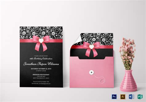 invitation card template for debut classic debut invitation card design template in word psd