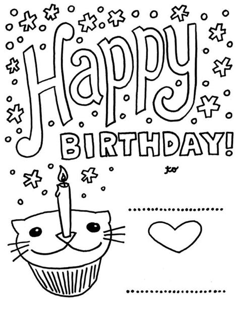 brithday card coloring page template printable birthday cards to color for friends